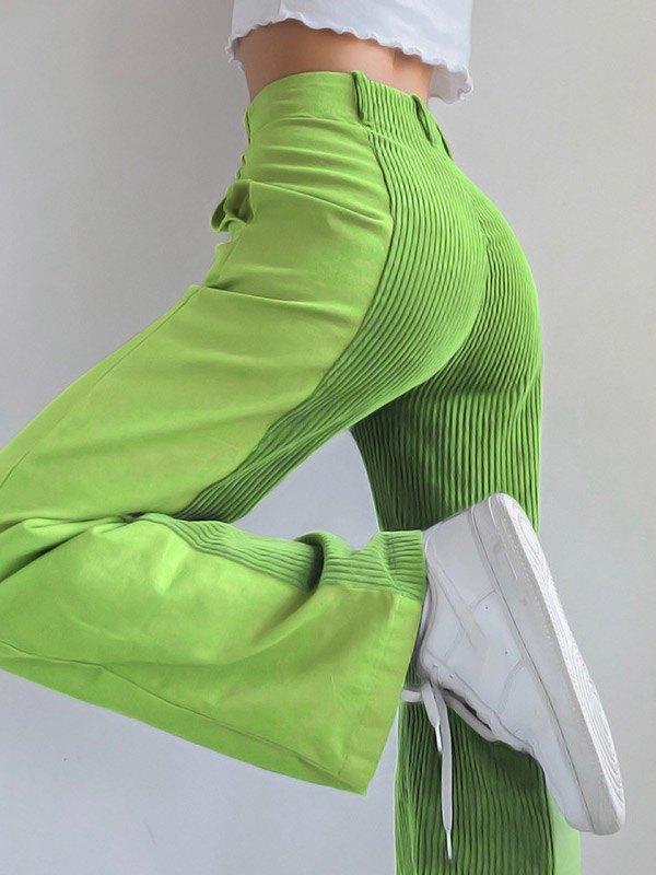 Patchwork Corduroy High Waist Straight Pants - Green L