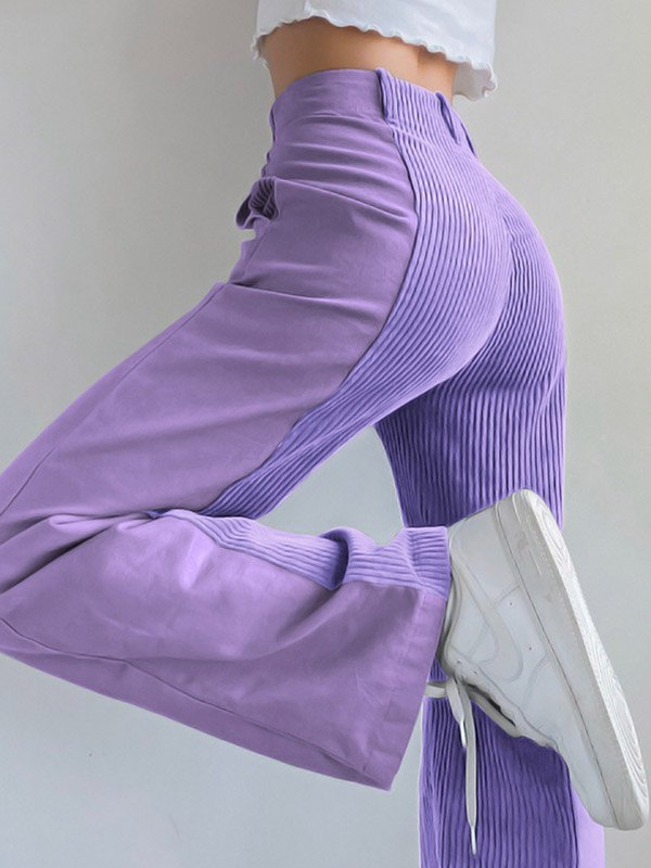 Patchwork Corduroy High Waist Straight Pants - Purple L