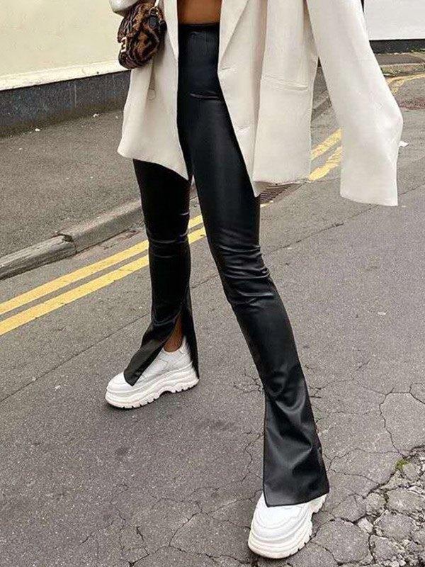 Pu Leather Split Flared Pants - Black L