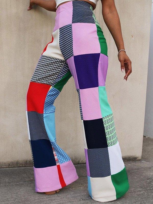 Patchwork Plaid Flared Pants - multicolorple Colors 2XL