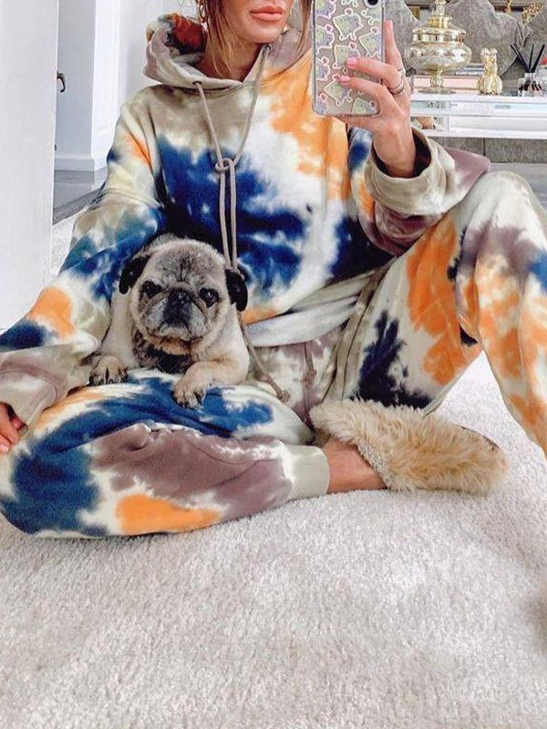 Printed Tracksuit Two-Piece Outfit - multicolorple Colors M