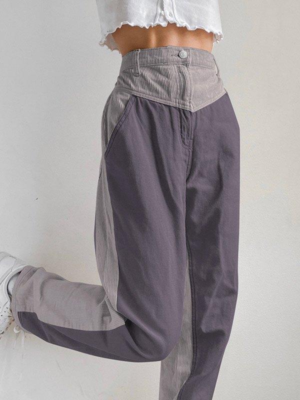 Corduroy Patchwork High Waist Straight Pants - Gray L