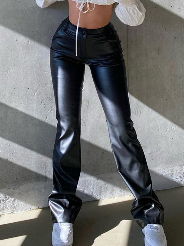 Pu Leather Slim Pants - Black M