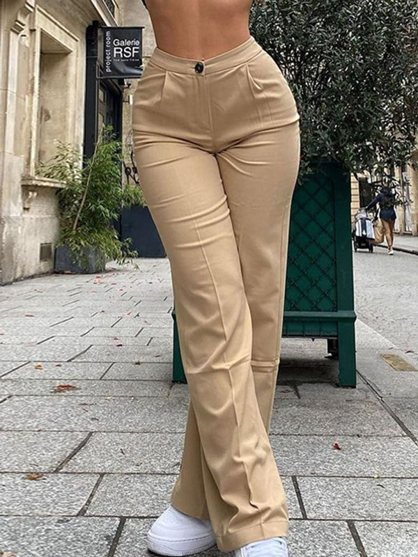 High Waist Solid Straight Pants - Apricot M