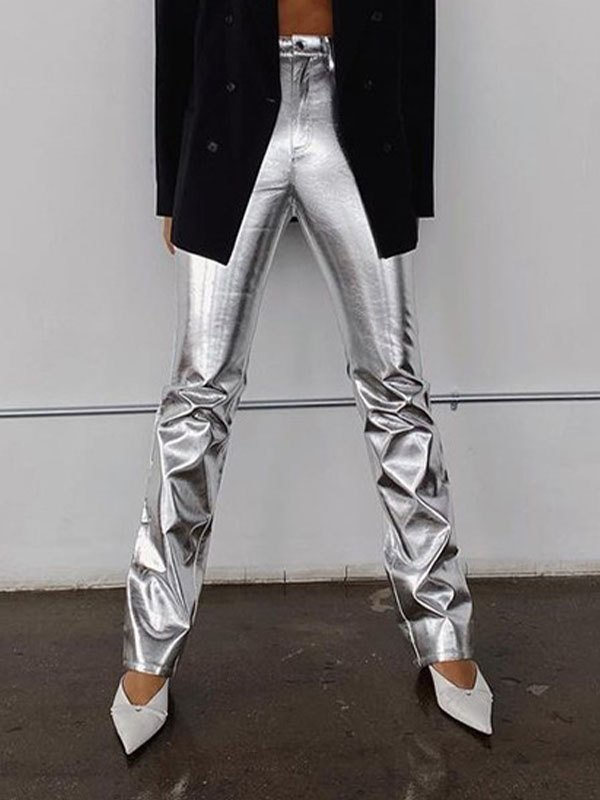 Glossy Pu Leather Stacked Pants - Silver L