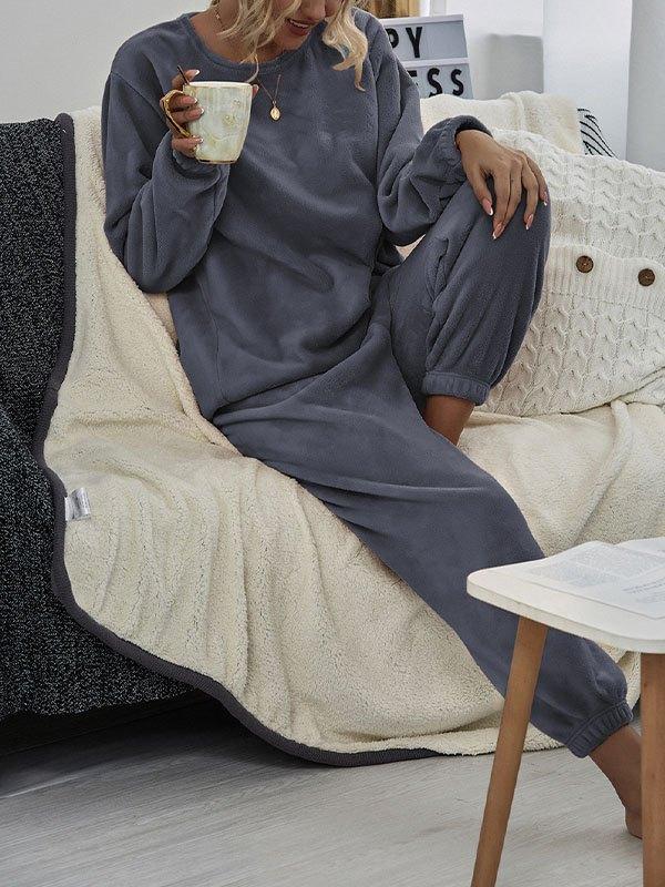 Warm Fleece Lounge Set - Faded Denim M