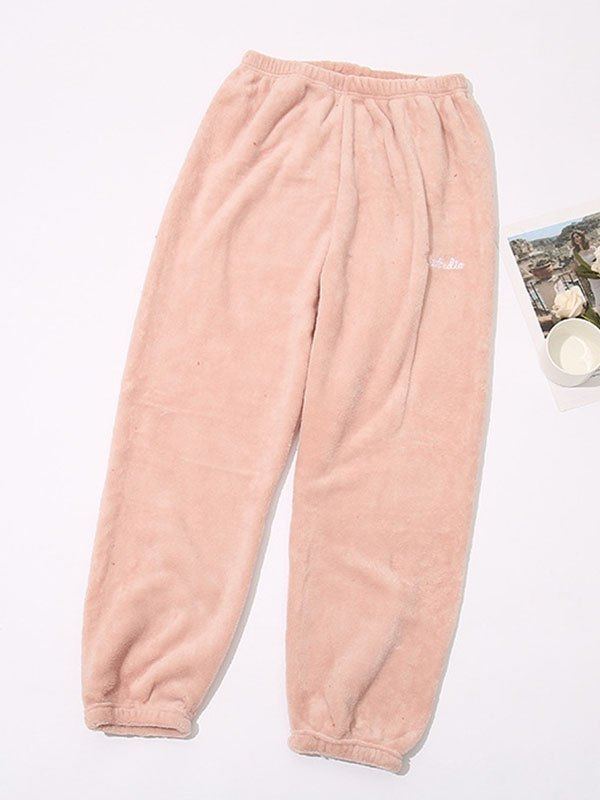 Fleece Homewear Casual Pants - Pink M