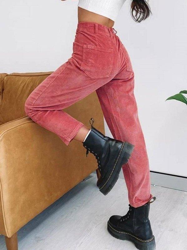 Corduroy Mid Rise Straight Pants - Beetroot Purple L