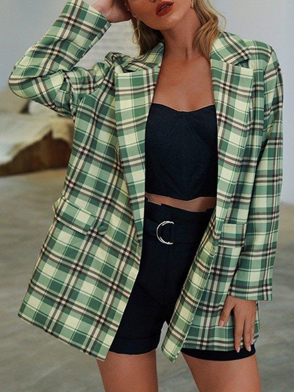 Long Sleeve Plaid Suit Blazer - Green L
