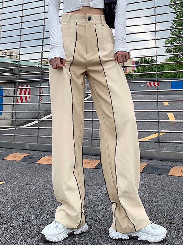Patchwork High Waist Straight Pants - Beige M