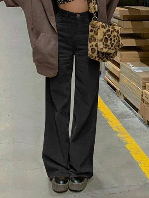 Vintage Corduroy Baggy Pants - Black S