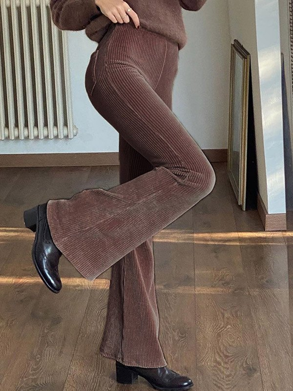 Corduroy High Waist Flare Pants - Brown S