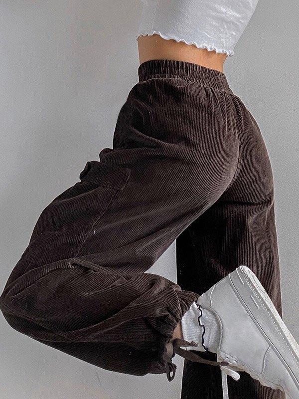 Corduroy High Waist Cargo Pants - Brown M