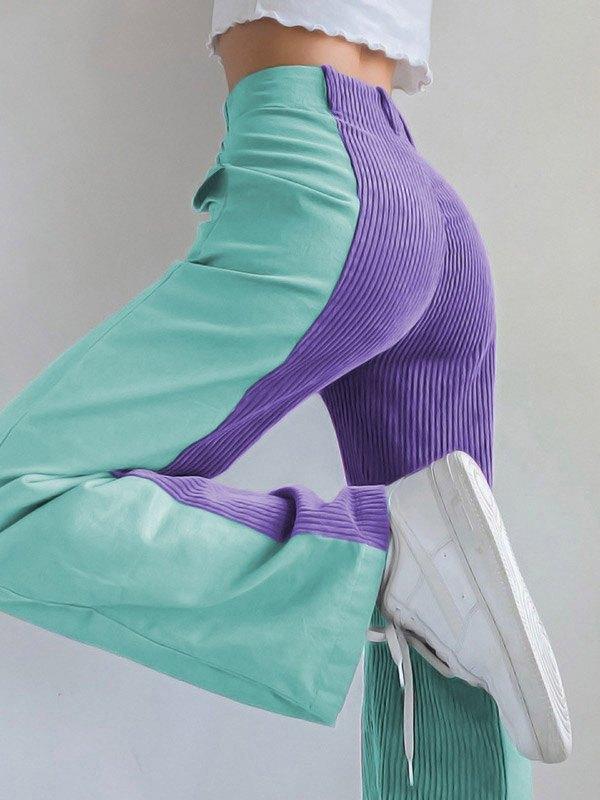 Corduroy Patchwork Straight Pants - Purple L