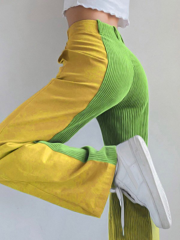 Corduroy Patchwork Straight Pants - Green S