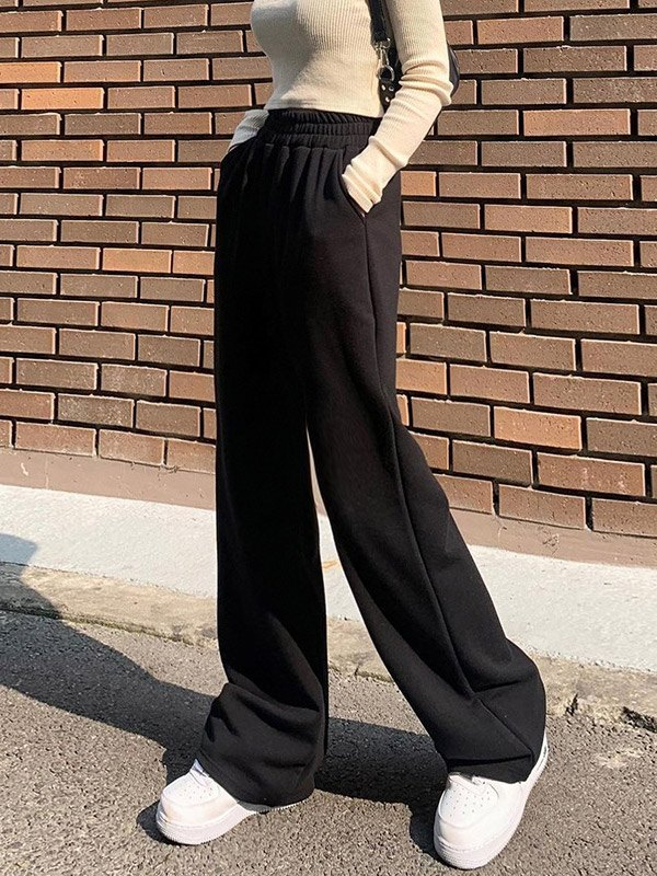 High Waist Drapey Straight Pants - Black S