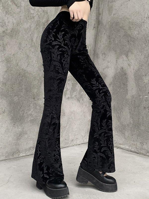 Vintage Embossed Velour Flare Pants - Black M