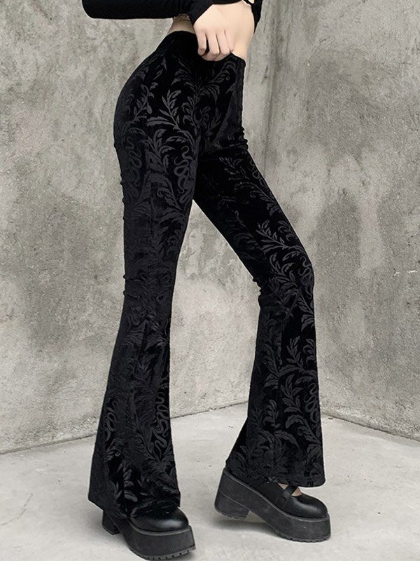Vintage Embossed Velour Flare Pants - Black M