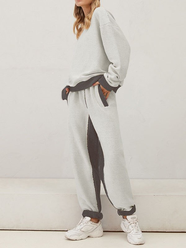 Contrast Stitching Tracksuit Set - White S