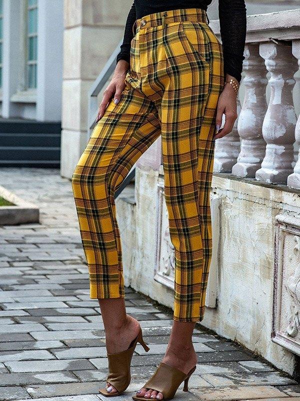 Vintage Plaid Straight Pants - Yellow S