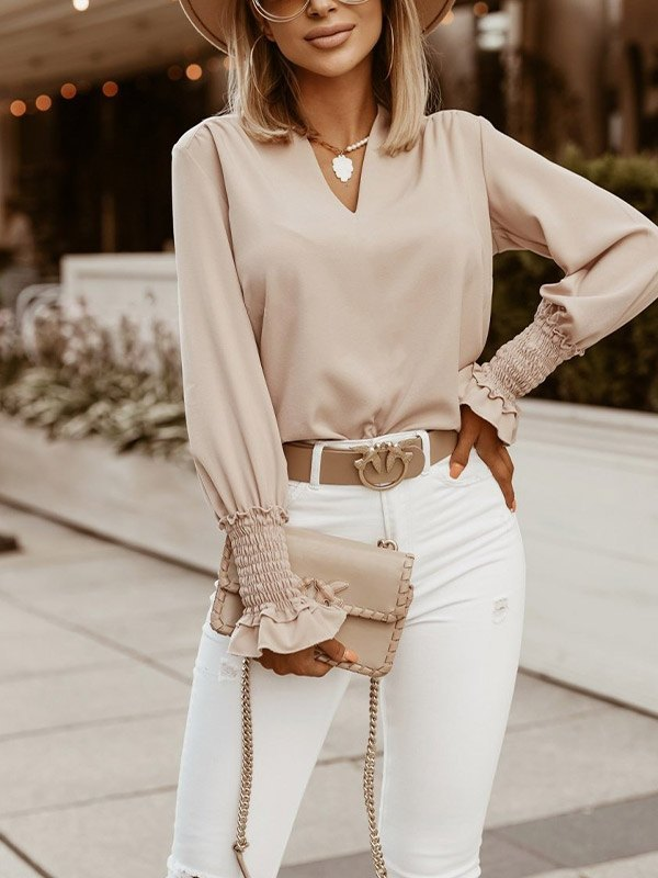 V Neck Solid Casual Blouse - Apricot M