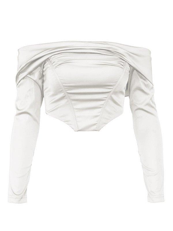 Off Shoulder Long Sleeve Bustier - White S
