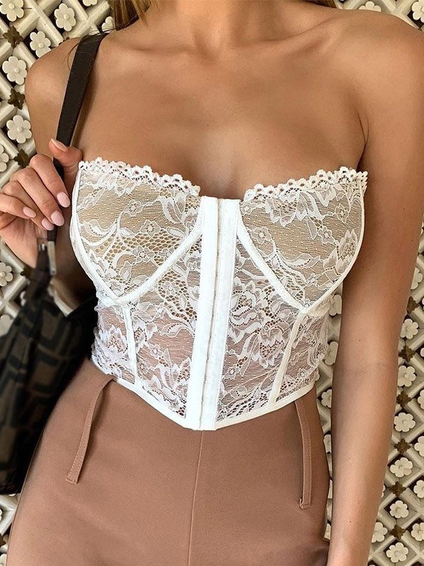 Lace Corset Bandeau Bustier - White S