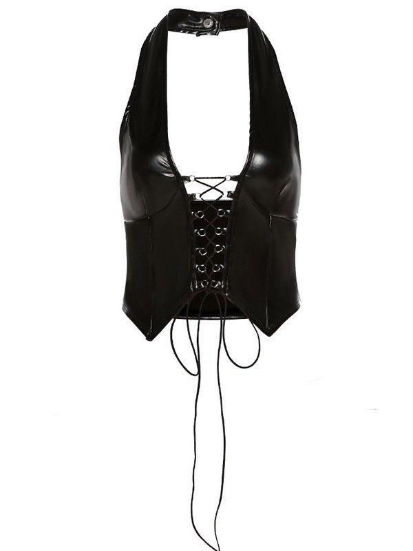 Pu Leather Bandage Cropped Halter Bustier - Black M