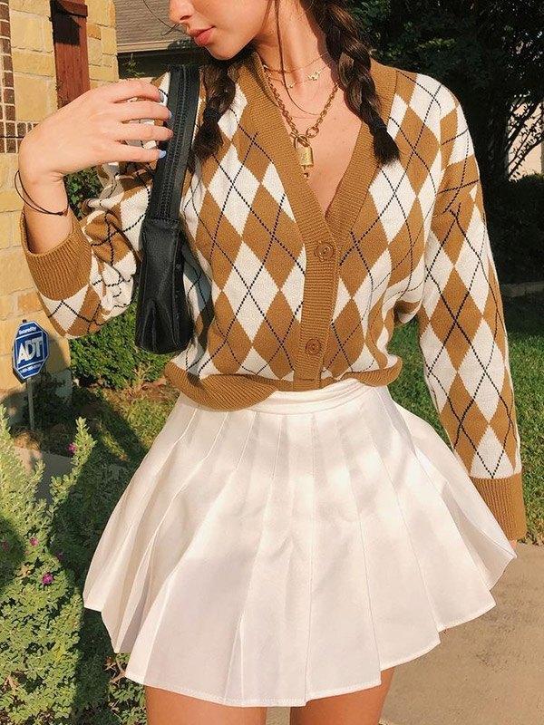 Preppy Style Argyle Knit Cardigan - Camel ONE SIZE