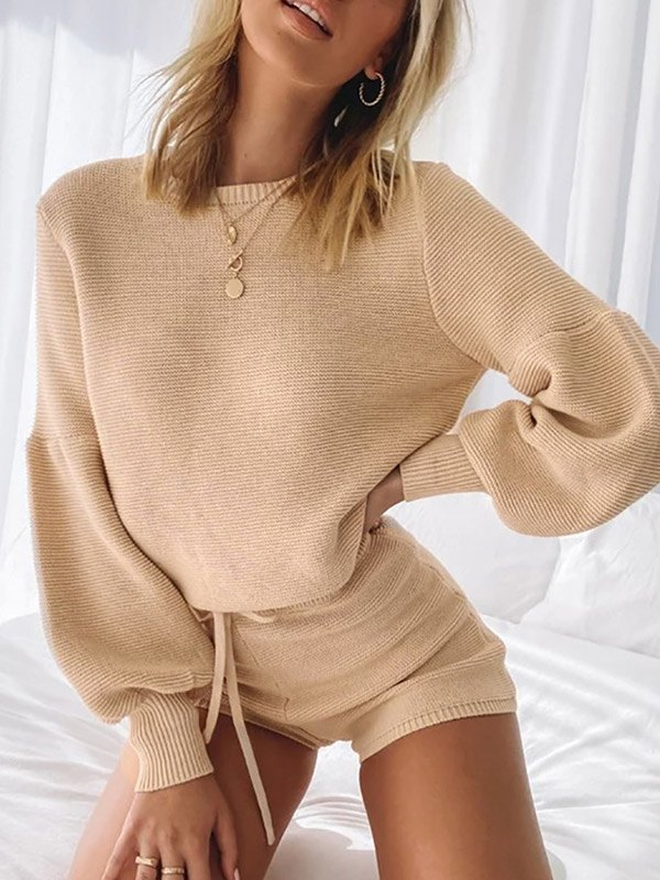 Pullover Solid Knit Sweater - Apricot M