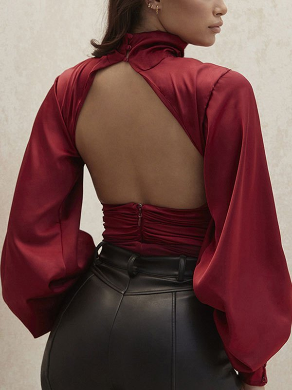 Turtleneck Ruched Satin Bodysuit - Red S