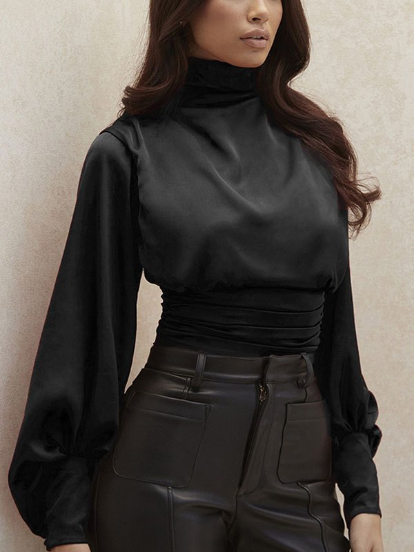Turtleneck Ruched Satin Bodysuit - Black XS