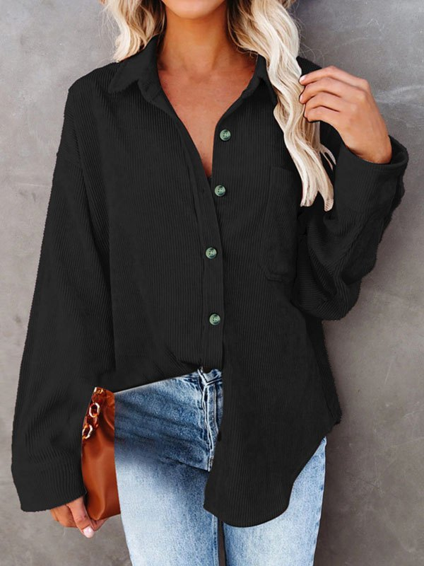 Corduroy Button Up Blouse - Black L
