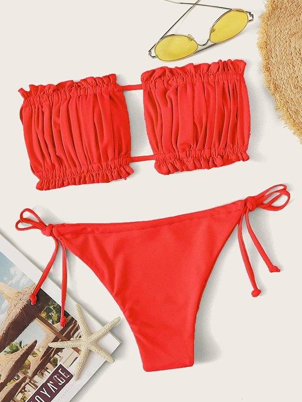 Smocked Bandeau Bikini Set - Red S