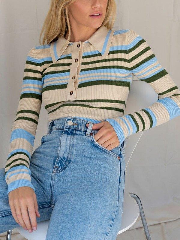 Contrast Striped Button Knit - Blue S