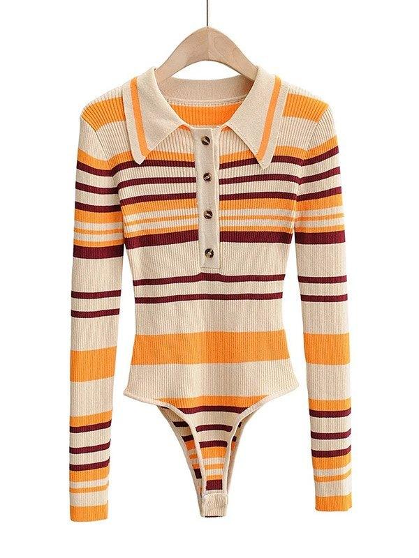 Contrast Striped Button Knit - Orange S