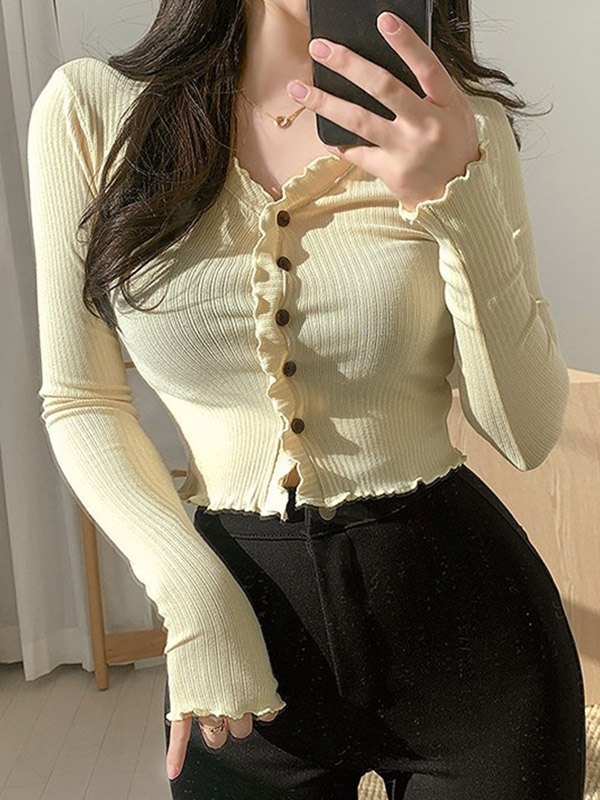 Frill Trim Buttoned Knit Top - Apricot M