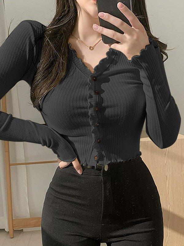 Frill Trim Buttoned Knit Top - Black L