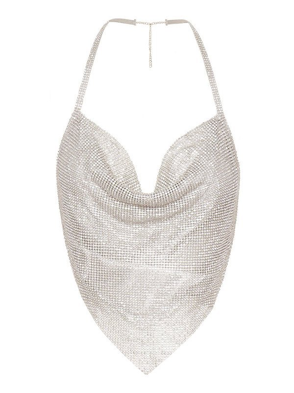 Diamante Halter Cami Top - Silver L