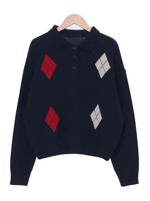 Polo Neck Argyle Knit Sweater - Navy Blue L
