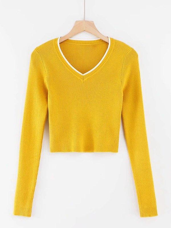V Neck Cropped Rib Knit - Yellow S