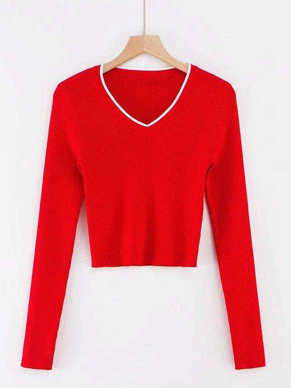 V Neck Cropped Rib Knit - Red S