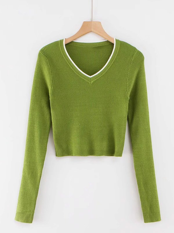 V Neck Cropped Rib Knit - Green S