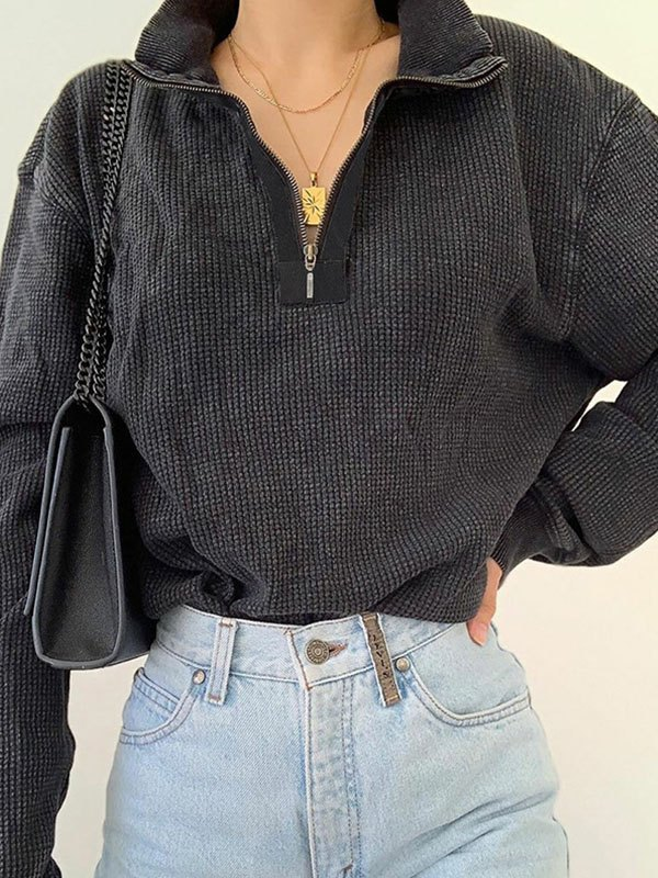 Quarter Zip Jumper Sweater - Dark Grey S