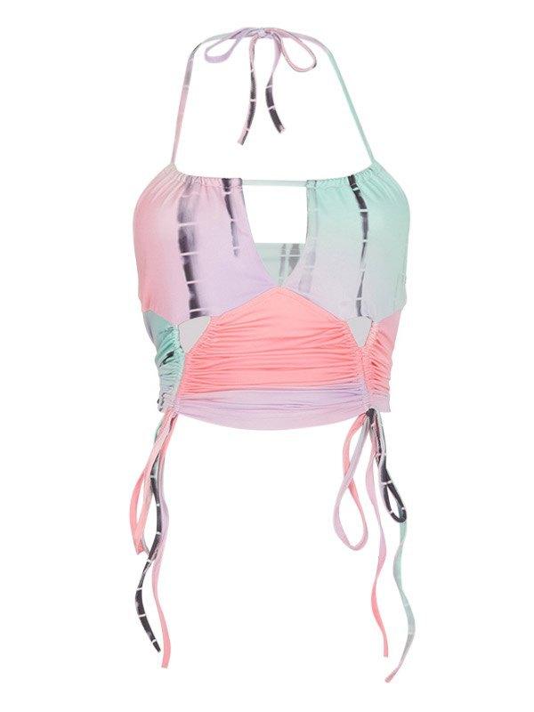 Printed Cutout Halter Crop Cami Top - Pink S
