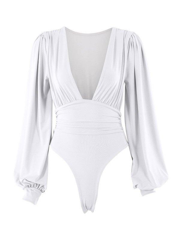 Long Sleeve Plunge Bodysuit - White L