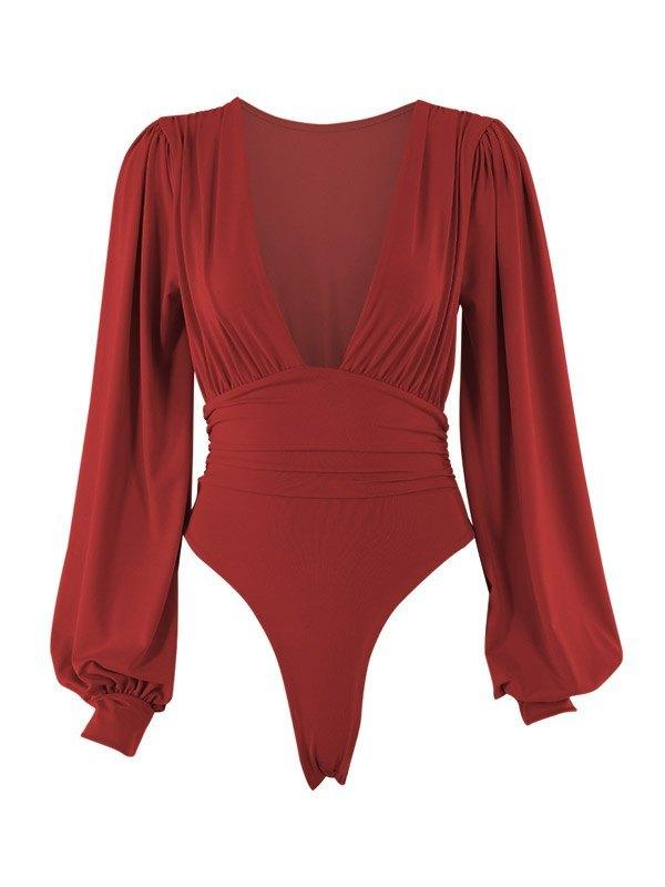Long Sleeve Plunge Bodysuit - Burgundy S