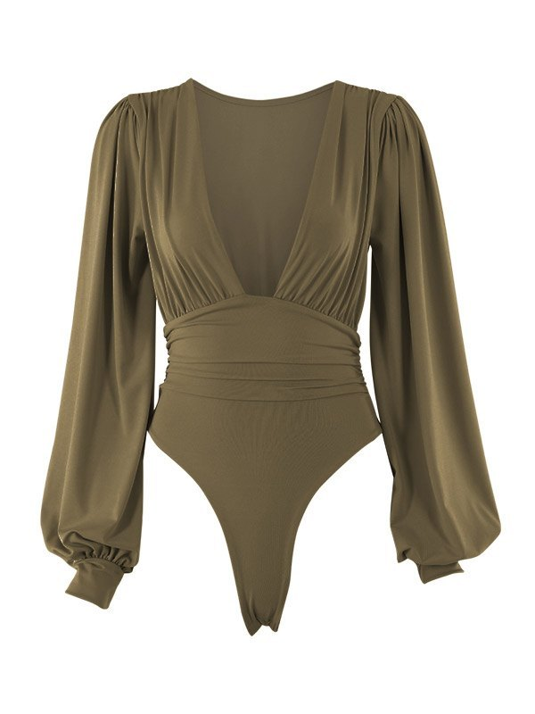 Long Sleeve Plunge Bodysuit - Chive S
