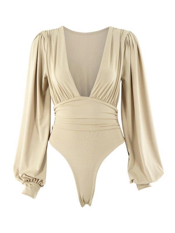 Long Sleeve Plunge Bodysuit - Apricot S
