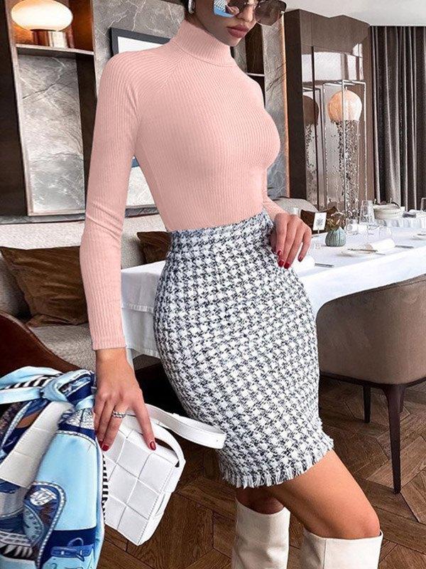 Ribbed Long Sleeve Bodysuit - Pink L